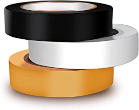 Wapodeai PVC Multipurpose Electrical Tape, Insulation Tape, Waterproof Flame Retardant Indoor Outdoor, Sticky, Easy to Remove, 3pcs/Package in Black, Yellow, White, 0.62