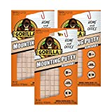Gorilla Removable Mounting Putty, 84 Pre-cut Squares, Off White (Pack of 3)