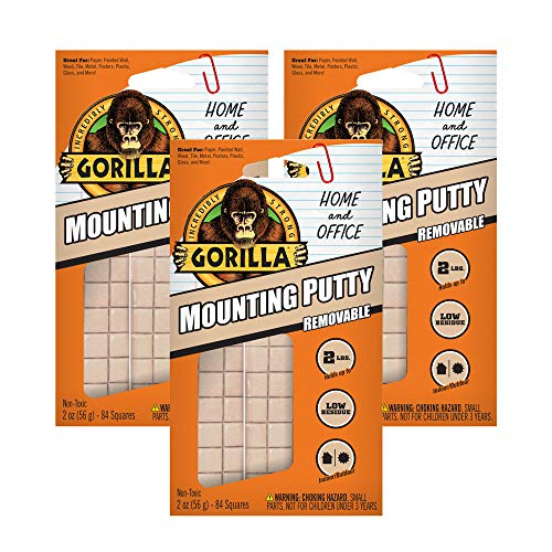 Gorilla Removable Mounting Putty, 3-Pack, Off-White, 3 Pack