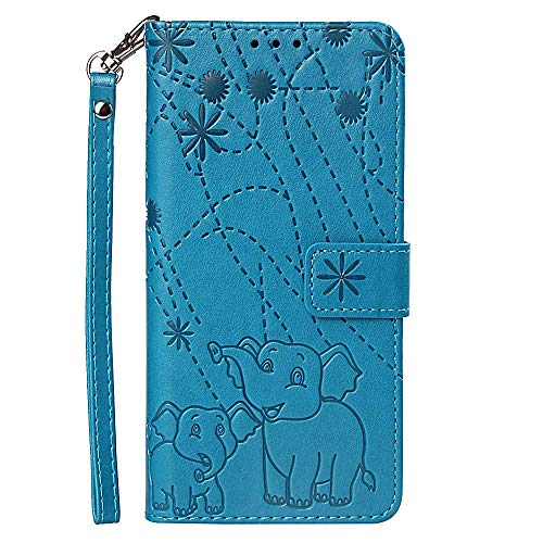 vingarshern Hülle für Huawei Honor Play 8A Schutzhülle Klappbares Flip Lederhülle Magnetverschlüsse Schutztasche Etui Honor Play 8A Hülle Leder Brieftasche,Elefant-Blau MEHRWEG