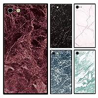 スマホケース スクエア ガラス 大理石 マーブル 石 Cタイプ iphoneSE(第一世代) iphone5s iphone5