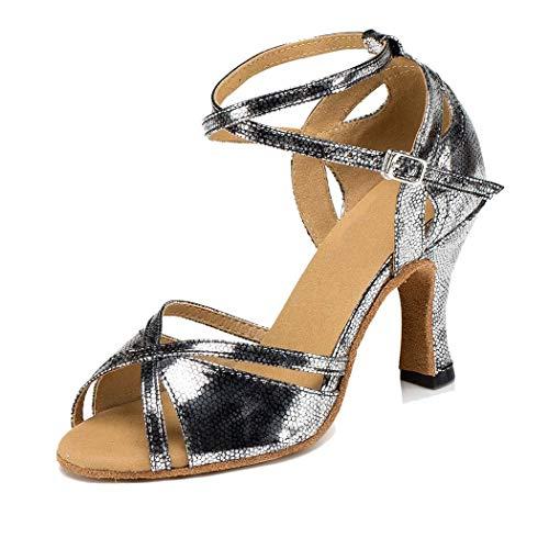 Impresión de Mujeres Synthetic Peep Toe Latin Modern Dance Ballroom Zapatos Sandalias de Fiesta (Color : Silver Grey 8cm Heel, Size : 6 UK)