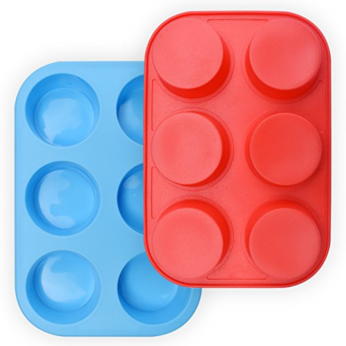 HomEdge - Molde de silicona para 6 magdalenas, 2 unidades, antiadherente, color azul y rojo
