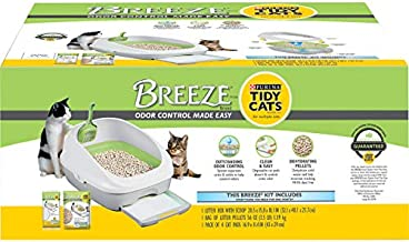 Purina Tidy Cats Litter Box System, BREEZE System Starter Kit Litter Box, Litter Pellets & Pads