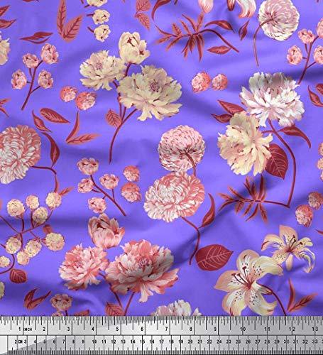 Soimoi Tissu Georgette Mousse Violet Feuilles Et Tissu Imprimé Floral Artistique 1 Yard 42 Pouces De Large
