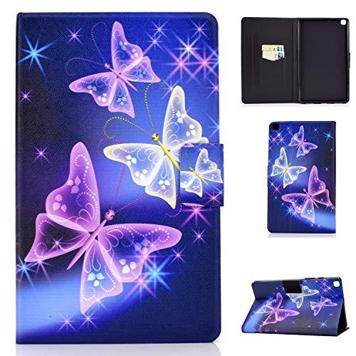 AsWant Custodia Samsung Tab A7 10,4 Pollici Cover in Portafoglio Custodia Tablet con Funzione Dormire Svegliati Auto per schede per Samsung Galaxy Tab A 10,4  2020 SM-T500 SM-T505 Flash Butterfly