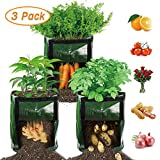 【3 Pack】 Potato Grow Bags, Plant Grow Bags 7 Gallon Heavy Duty Thickened Growing Bags Garden Vegetable Planter with Handles & Large Harvest Window