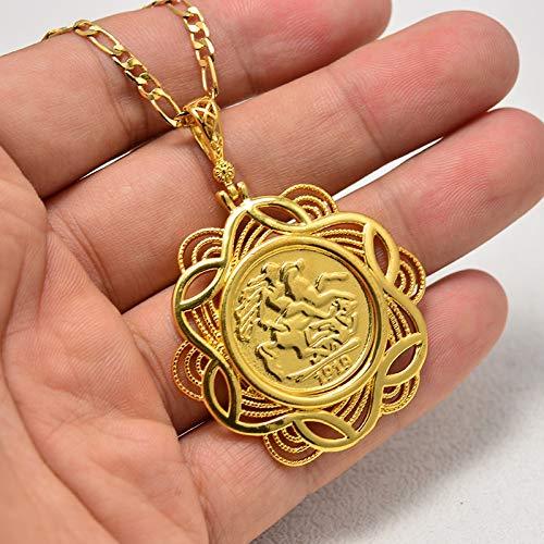 TUDUDU Colgante De Moneda Antigua Collares De Cristal Musulmán Mujeres/Hombres, Joyas De Color Dorado Oriente Medio África Regalo Longitud 50 Cm