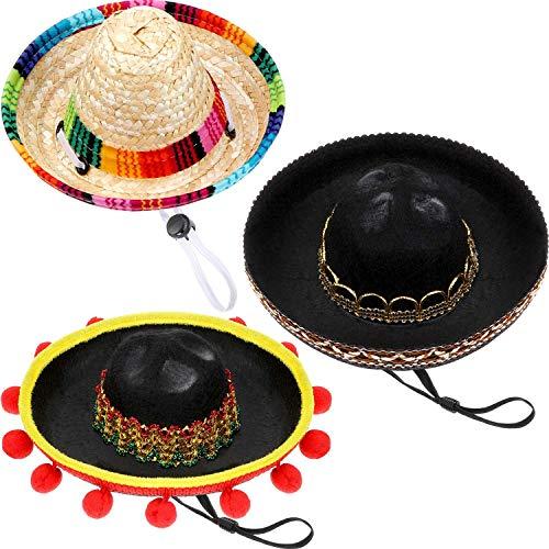 SATINIOR 3 Stücke Mini Sombrero Hüte Haustier Stroh Hüte Niedlichen Stroh Sombreros für Fiesta Karneval Sommer Party Dekorationen Erwachsene Jugendliche Haustiere
