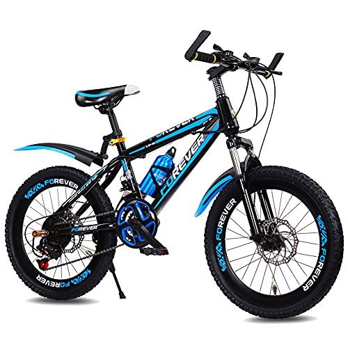 Axdwfd Infantiles Bicicletas Bici Amortiguador De 20 Pulgadas, Bicicleta De Montaña De Velocidad Variable, Adecuada para Niños Y Niñas De 9 A 14 Años, 3 Colores(Size:20in,Color:Azul)