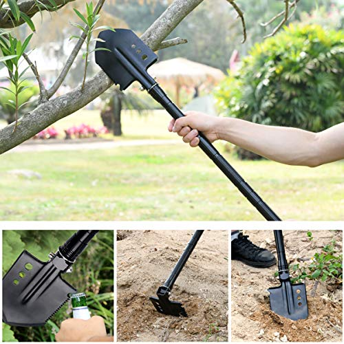51IXNVoIIYL - OSPACE Camping Shovel, Survival Shovel with Wood Saw Edge, Tactical Entrenching Tool for Outdoor Hunting, Camping, Hiking, Emergency Situations