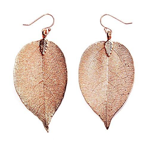 Ana Morales Damen-Ohrringe Echtes Naturblatt (Rosegold beschichtet) Blattlänge ca 60-70mm