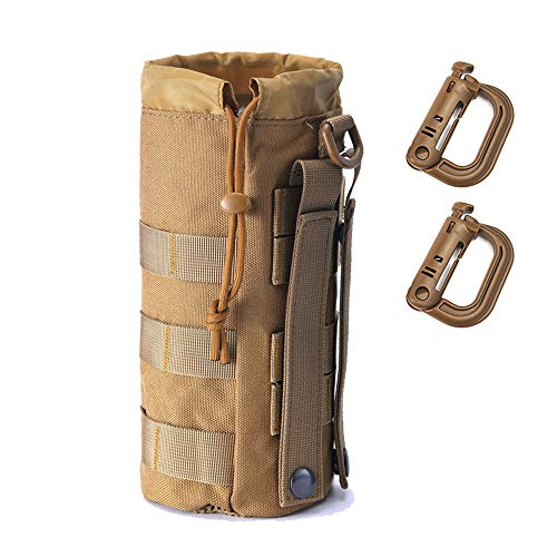R.SASR Upgraded Sports Water Bottles Pouch Bag, Tactical Drawstring Molle Water Bottle Holder Tactical Pouches, Travel Mesh Water Bottle Bag Tactical Hydration Carrier (Tan-1Pack)