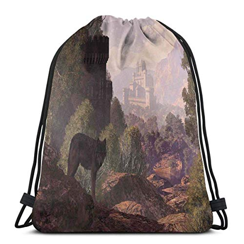 Mochilas Estampadas con cordón, un Lobo Que Sale del Bosque con un Barco gótico del Lago del Castillo en la Distancia