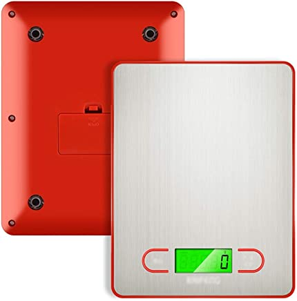 Kitchen Scales - Stainless Steel, LCD Green Backlit Night Vision Screen, Home and Business Precision Small Multi-Function Brushed Jewelry Food Electronic Scale - 4 Colors Optional (Color : RED)