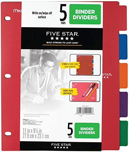 Five Star Binder Dividers, 5 Tabs, Red, Cobalt Blue, Bright Orange, Grey, Green, 1 Pack (20040)