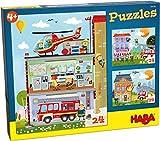 HABA-304186-Puzzles Pequeños Bomberos puzle infantil, Multicolor (304186)