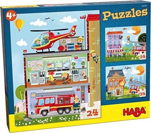 HABA 304186 - Puzzles Ma petite caserne de pompiers - 3 puzzles de 24 pièces chacun, 3 motifs différents de pompiers, puzzle amusant à partir de 4 ans