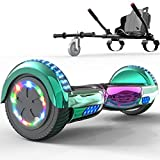 SOUTHERN-WOLF Hoverboard go Kart Self Balance Scooter with Hoverkart 6.5 Inches Hoverboards for kids LED with Lights and Bluetooth Speaker Best Gifts for Kids Best Gifts for Boys and Girls