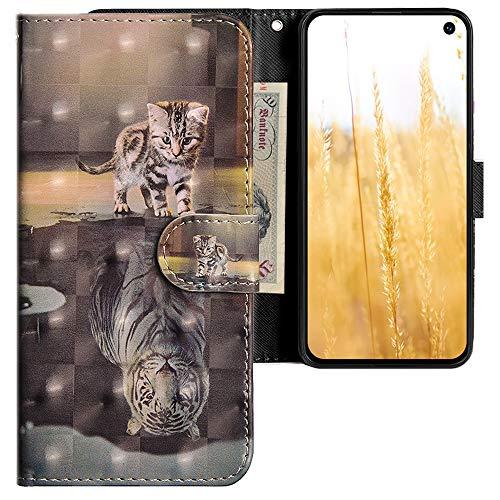CLM-Tech Hülle kompatibel mit Samsung Galaxy S10e - Tasche aus Kunstleder - Klapphülle mit Ständer & Kartenfächern, Katze Tiger grau