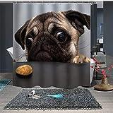 Chickwin Duschvorhang Anti-Schimmel und Wasserdicht, 3D Creative Haustiere Welpen Drucken Duschvorhang mit 12 Duschvorhangringe für Badezimmer (180x200cm,Mops)