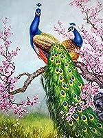 5DDIYダイヤモンド絵画孔雀手作りギフトダイヤモンド刺繡動物モザイクセールウォールアートデコレーション-9112_Round_50X70cm_