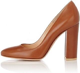 6c5072a882bb76 EDEFS - Chaussure Femmes Escarpin - Talon Hauts Bloc - Bout Rond fermé -  Soirée Mariage