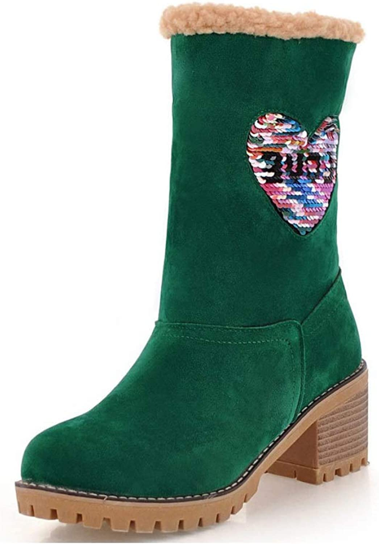 Womens Ladies Winter shoes Flock Warm Snow Boots Fur Lined Chunky Block Elegant Heel Ankle Booties Outdoor Short Bootie Vintage shoes 6cm UK