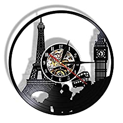 BESI Big Ben Tower Laser Cut Wall Clock Landmark Led Light Vinyl Record Watch Vintage Design