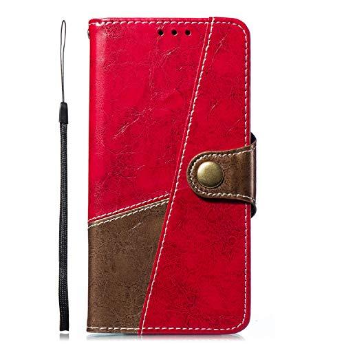 Uposao Kompatibel mit Handyhülle Huawei P8 Lite 2017 Ledertasche Handytasche Leder Handyhülle Case Cover Ultradünn Book Lederhülle Wallet Klapphülle Flip Case Silikon Backcover Ständer,Braun Rot