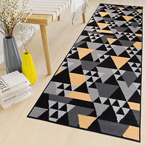 TAPISO Maya Tappeto Passatoia al Metro Tappeto Runner Corridoio Cucina Nero Giallo Moderno Geometrico A Pelo Corto 100 x 290 cm