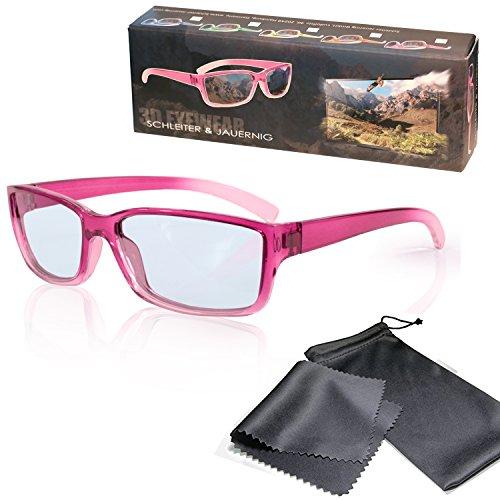 SJ3D Passive 3D Brille für Kinder – Pink / Transparent - Polfilterbrille zirkular polarisiert - Für RealD 3D Kino & TV: LG Cinema 3D Philips Easy 3D Telefunken Toshiba 3D Natural Vizio 3D und 3DTVs von SONY Grundig Panasonic Hisense CMX uvm. - Inkl. Mikrofaser Brillenbeutel und Putztuch