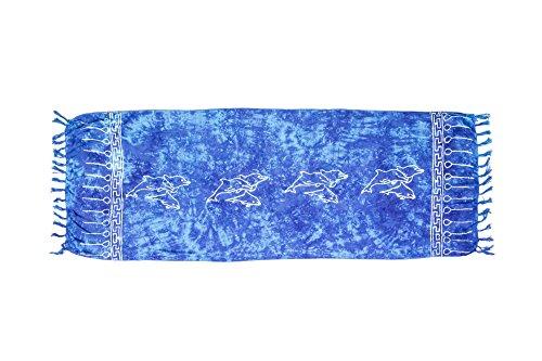 ManuMar Paréo Femme plage | Sarong | Serviette de plage | Tissu léger bleu avec motifs dauphins en dentelle | géante 225x115 cm | Serviette de Sauna/Hammam | Bikini | Bali