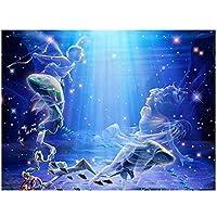 aksldf ダイヤモンド刺繍魚座風景5DDIY干支ダイヤモンド絵画フルドリルクロスステッチ誕生日プレゼント壁の装飾-40x50cmフレームなし