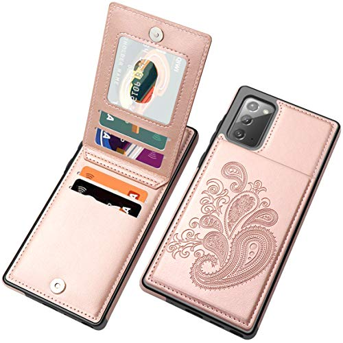 SHIYISHI Flip Case for Samsung Note 20 Case, Embossed Flower Series Premium PU Leather Galaxy Note 20 Case for Women with Wallet Credit Card Holders Phone Case for Samsung Galaxy Note 20, Rose Gold