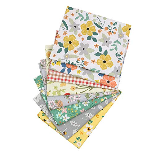 Yuanchuan 8Pcs Plaid Floral Fat Quarters Fabric Bundles,Cotton Quilting Fabric for Sewing Crafting, 18 x 22 inch(Multi B)