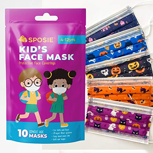 Sposie Disposable Face Masks for Kids, Halloween Special Edition - 10 Pack, for Children (Boys and Girls) Ages 4-12, Soft and Breathable with Elastic Ear Loops