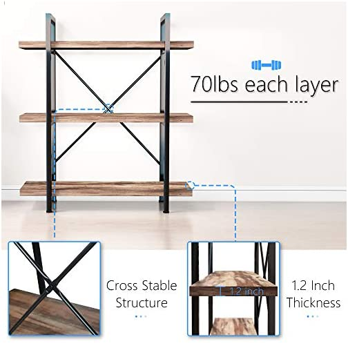 45MinST 3-Tier Vintage Industrial Style Bookcase/Metal and Wood Bookshelf Furniture for Collection,Vintage Brown, 3/4/5…