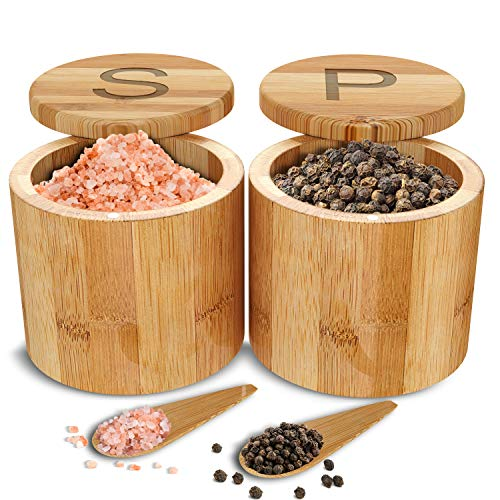 Scavyn Bamboo Salt and Pepper Cellars - Spice Containers - Magnetic Swivel Lids - 2 Wooden Boxes with Spoons - Engraved with S and P - 3.5 x 3.0 inches