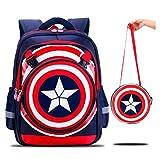 YOSPOSS KZ3527-W617 mochila de dibujos animados 3D para niños con logo de Capitán América