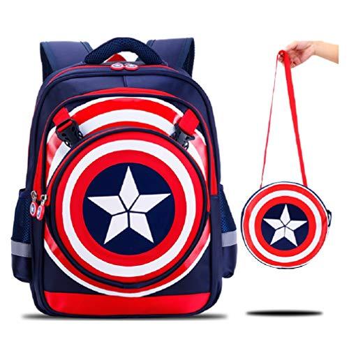 YOSPOSS KZ3527 W617 mochila de dibujos animados 3D para niños con logo de Capitán América