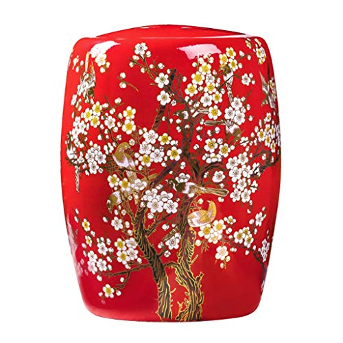 Rice Storage Bucket Retro Kitchen Porcelain Rice Cylinder Art Deco Gift Seal Cover Moisture Storage Tank (Color : Red, Size : 2945cm)