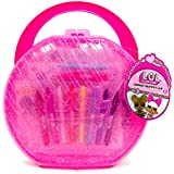 L.O.L. Surprise! Creativity Case by Horizon Group USA, Storage Case,Paper Dolls, Coloring Pages, Makers, Crayons, Glitter Glue & Scratch Art Included, Hot Pink