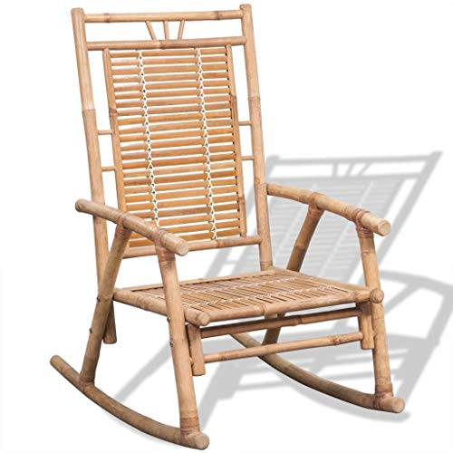mewmewcat Schaukelstuhl Bambus Gartenstuhl Gartensessel Bambusstuhl für Terrasse oder Garten