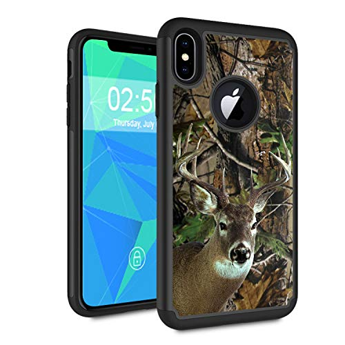 iPhone XR Case,Spsun Dual Layer Hybrid Hard Protector Cover Anti-Drop TPU Bumper for Apple iPhone XR (2018)[6.1' ONLY],Deer Hunting Camo