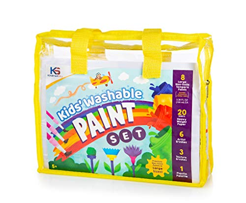 Washable Paint for Kids Set with Classic and Glitter Non-Toxic Tempera Paint Colors