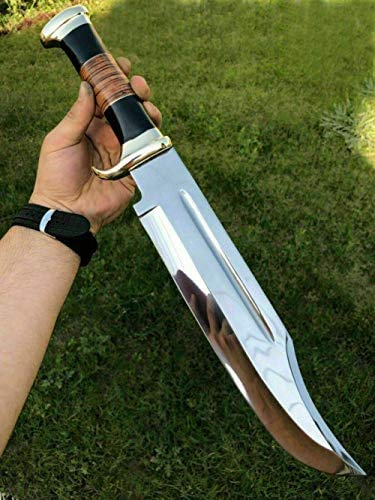 "KE-0547-HK D 2 Steel Custom Handmade 18"" Buffalo Horn Handle Bowie Knife"