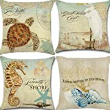 Unibedding Decorative Beach Themed Throw Pillow Covers 18x18 Outdoor Coastal Pillow Case Cotton Linen Nautical Cushion Covers for Patio Couch Bedroom Home Decoration, Set of 4