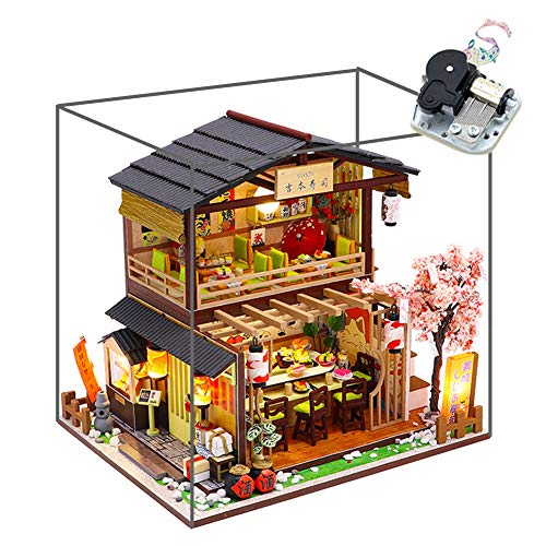 WYD Japanese-Style Double-Decker Yoshimoto Sushi Restaurant Wooden Miniature Doll House DIY Scene Architectural Model Toy Puzzle Fun Parent-Child Gift