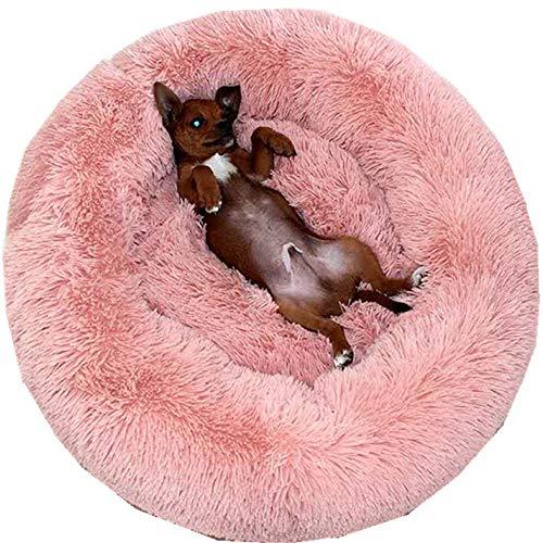PINKE Pet Nest Donut Form Hund Katze Rundes Bett, Weiche Warme Plüsch Haustierbett Hundebett Waschbar, Runde Plüsch Zwinger Katzenstreu Vier Jahreszeiten(40cm,Pink)